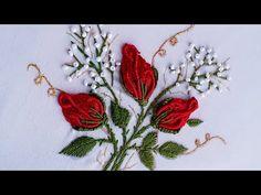 Brazilian embroidery rose buds by NJ's Creations Types Of Embroidery Stitches, Brazilian Embroidery Stitches, Diy Embroidery Patterns, Hand Embroidery Videos, Embroidery Stitches Tutorial, Hand Embroidery Flowers, Flower Embroidery Designs, Crewel Embroidery, Embroidery Needles