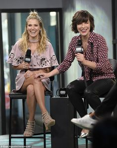 Second stop:Milla Jovovich (L) and Ali Larter (R) first dropped by ABC's morning television show for an interview before filming a segment for the digital-first, Verizon-owned Build Speaker series later that same day, in New York City