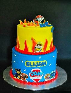 Two tier paw patrol birthday cake in butter cream