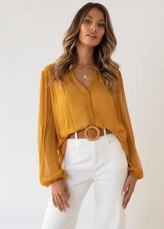 Gabriella Blouse - Mustard Cold Hands, Gingham, Mustard, Collars, Special Occasion, Chiffon, Neckline, Closure, Style Inspiration