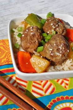 Slow Cooker Sweet and Sour Lamb Meatballs with Pineapples and Cashews | Serve over Mahatma brown rice. Simply delicious!