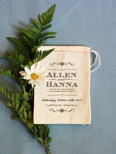 Personalized Custom Printed Muslin Bags by Benign Objects via Brooklyn Bride