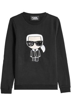 KARL LAGERFELD Embroidered And Embellished Cotton Sweatshirt. #karllagerfeld #cloth #