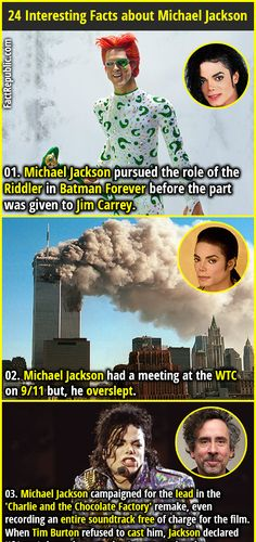 Michael Jackson pursued the role of the Riddler in Batman Forever before the part was given to Jim Carrey. Michael Jackson had a meeting at the WTC on but, he overslept. Wtf Fun Facts, True Facts, Funny Facts, Funny Memes, Random Facts, Crazy Facts, Strange Facts, Funny Vid, Random Things