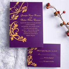 purple and orange wedding flowers | Graceful Purple Floral Scroll Wedding Invites UKI125 [UKI125] - £0.00 ...