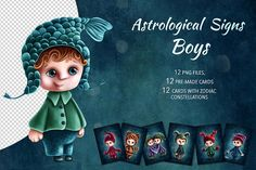 Astrological Signs Boys by ESchweitzerDesign on @creativemarket