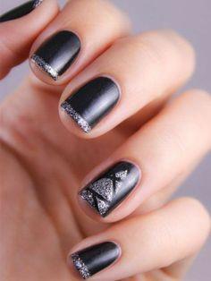 ongles décorés deco ongle gel en noir