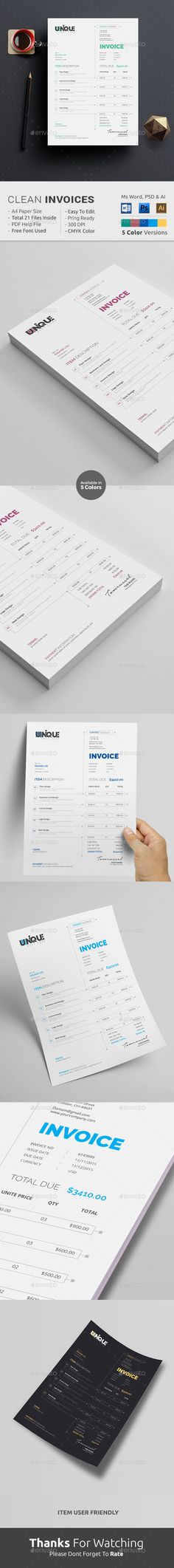 #Clean #Unique Invoice Design..Download here: http://graphicriver.net/item/clean-invoice/13859469?ref=arroganttype