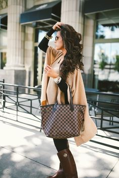 fall fashion outfit idea tory burch boot w/poncho and Louis Vuitton Neverfull by EMILYANNGEMMA THE SWEETEST THING BLOG