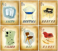Designer, painter and illustrator Jen Renninger created this beautiful vintage style flash card set. Alphabetic cards with famous interior design icons of the mid-century. A-E