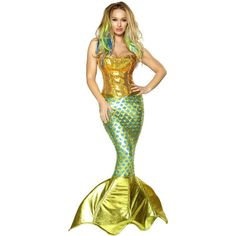 Womens Siren of the Sea Costume ($239) ❤ liked on Polyvore featuring costumes, abiti, halloween costumes, ladies halloween costumes, lady pirate costume, ladies sailor costume, pirate costume and mermaid costume