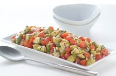 Grilled Avocado and Tomato Salad with Parmesan Pesto