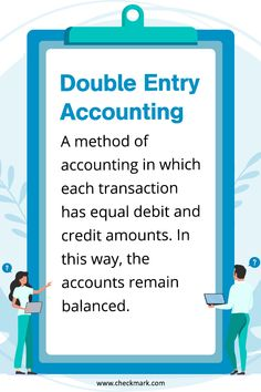 Double Entry Accounting: A method of Accounting in which each transaction has equal debit and credit amounts. In this way, the accounts remain balanced. Accounting Basics, Bookkeeping And Accounting, Bookkeeping Business, Small Business Accounting, Bookkeeping Services, Accounting And Finance, Accounting Software, Business Education, Accounting Education