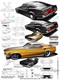 Decisions by Brian Stupski, via Behance  In this case, a 1970 Mustang was the order of the day, and my client and I had discussed fusing some Mach One and Shelby-influenced pieces for a street machine-turned-custom cruiser. Here's but a few of the ideas I threw around...