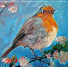 loosley painted robin on a branch with cherry blossems, blue sky