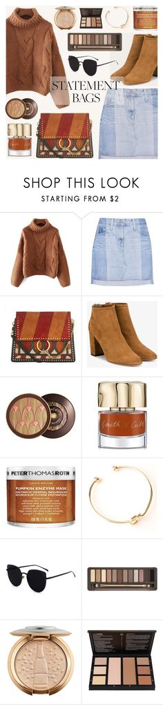 """""""Carry On: Statement Bags"""" by dora04 ❤ liked on Polyvore featuring AG Adriano Goldschmied, Chloé, Aquazzura, Guerlain, Smith & Cult, Peter Thomas Roth and Urban Decay"""