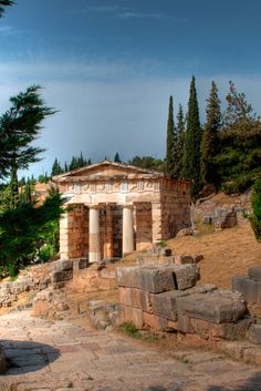 The Treasury of the Athenians, Sanctuary of Apollo   gave an on-site report on this building while in Delphi