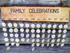 Wooden Family Birthday Board Calendar via Laurnikashop