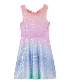 Take a look at this Loud By Design Pink & Blue Ombré Scales Cutout Dress - Toddler & Girls today!