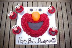 Elmo Cake and Cupcakes.
