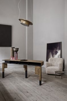 styletaboo: Oliver Gustav Studio - Interior [console table / desk, vases, and lamp, all by Vincenzo de Cotiis for Progetto Domestico, side table by Rick Owens] † Furniture Design, Cheap Home Decor, Furniture, Living Room Diy, Living Decor, Interior Design, Home Decor, House Interior, Interior Architecture