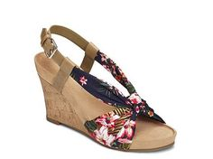 Aerosoles Plush Pillow Floral Wedge Sandal