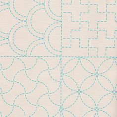 Stencilled Sashiko Sampler Panel Ecru