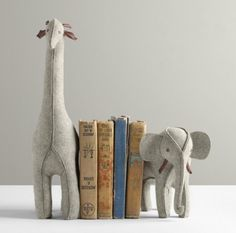 Wool Felt Animal Bookends. Inspiration for weighted felt bookends