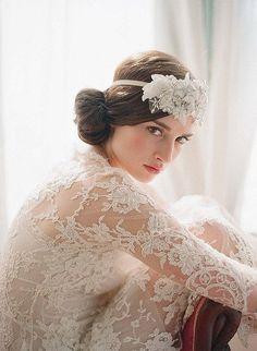 Long sleeve lace #wedding dress with headpiece - via Trend Wedding.