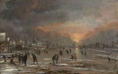 Aert van der Neer - Winterlandschap bij zonsondergang