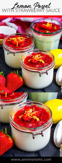 This Lemon Posset with Strawberry Sauce is the perfect easy to make Summer dessert! Light, full of flavour and topped with a homemade sauce, this will become a staple dessert! #lemonposset #posset #strawberrylemon #strawberries #lemons #summerdessert Party Desserts, Summer Desserts, Dessert Recipes, Dessert Ideas, Berry Tart, Strawberry Sauce, Homemade Sauce, Popular Recipes, Other Recipes