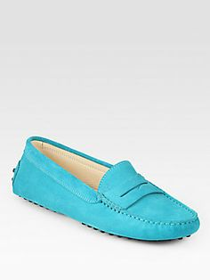 Tod's   Suede Moccasin Drivers  They come in so many colors, but how perfect are the Turquoise ones?!
