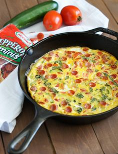Pepperoni and Vegetables Frittata, a quick and simple dish with all the goodness of delicious Hormel pepperoni, mozzarella cheese, zucchini, plum tomatoes and fresh basil.