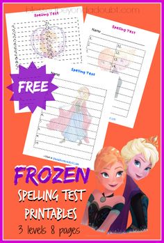 FREE Frozen Spelling Test Printables! They work with any spelling lists!