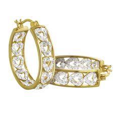 Diamond Hearts Hoop Earrings - The Danbury Mint