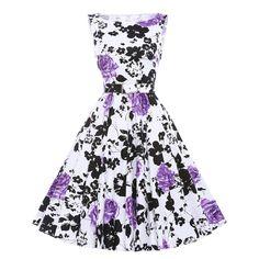 50s Vintage Dress Pinup Rockabilly Retro Casual Women Dress O-neck Sleeveless Flower Print Hepburn Dresses Plus Size Vestidos Alternative Measures
