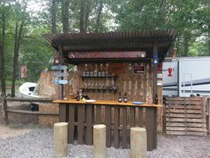 Tiki bar on campsite I have on the Jersey Shore near Long Beach Island. Took 1 day to construct with 8 pallets and a few pieces of store bought lumber. Pallets = Free Misc lumber and materials around $180.00. Lots of fun to accessorize with fun signs and lighting. It's the envy of the neighborhood!…