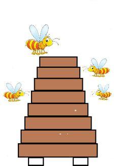 Bijenkorf maken van brede stroken, passen - meten! Daarna de bijtjes erbij laten maken!