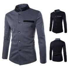 Ever Lasting Color's Collar Tunic Jacket Chic Men's Casual Jackets