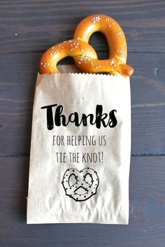After Party Pretzel - 7 Edible Pinterest Wedding Favors Your Guests Will Gobble Up - Southernliving. Send them off with a salty snack that can pull off a puny punch line. See this wedding favor idea on Pinterest.