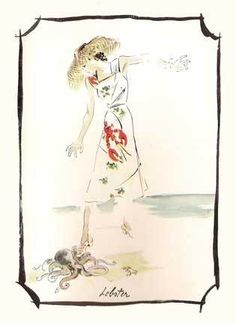 Schiaparelli's lobster dress drawing.