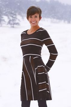 "Adrianna Sweater Dress | 37"" Fit and Flare Dress 