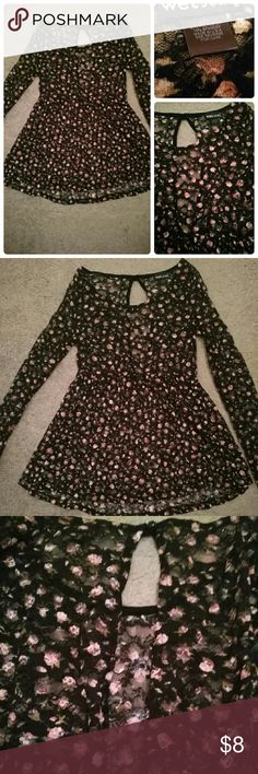 ?? Wet Seal Black & Pink Floral Sheer Lace Blouse Sat in closet forever, only worn once. Size L juniors & fits regular like a medium. Wet Seal Tops Blouses