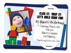 Printable Lego Inspired Birthday Invite - Entire Birthday Collection Available. $11.00, via Etsy.