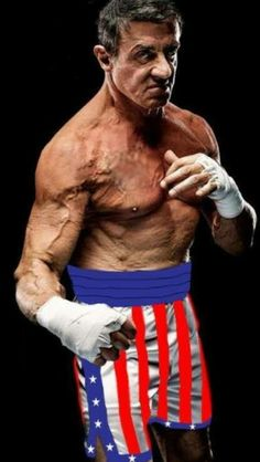 An older Sylvester Stallone in the boxing shorts Apollo gave him in Rocky III Frank Stallone, Sage Stallone, Rocky Sylvester Stallone, Rocky Stallone, Rocky Film, Rocky 3, Iconic Movies, Good Movies, Brigitte Nielsen