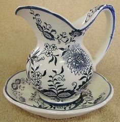 Vintage Lenox Pitcher | VINTAGE COLLECTIBLES--19th CENTURY FLORAL SCENE MINI PITCHER & BOWL ...