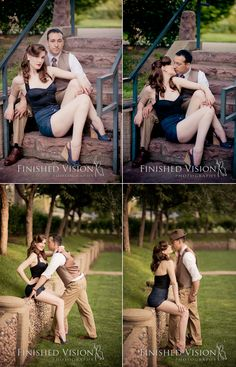 Awesome 1940's inspired Couples shoot!! Hair and Makeup by Angelique; Photography by Finished Vision Photography  If Junior and I are ever going to take pics together professionally,  I would love this idea=).  pin up style =).