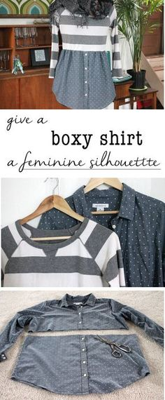 Turn a boxy shirt into a cute one you'll want to wear all the time! Add a feminine silhouette by creating a shirt/sweater combo that is comfortable and flattering. http://www.ehow.com/ehow-crafts/blog/give-a-boxy-sweater-and-shirt-a-feminine-silhouette/?utm_source=pinterest.com&utm_medium=referral&utm_content=blog&utm_campaign=fanpage