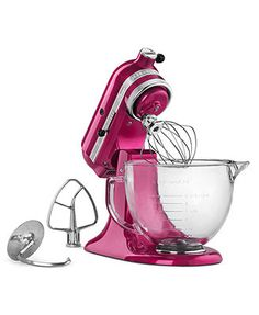 Love the new look of glass with the pour spout and also the hot pink!! KitchenAid KSM155 Cook for the Cure 5 Qt. Stand Mixer