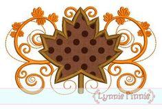 Fall Flourish Leaf Applique 4x4 5x7 6x10
